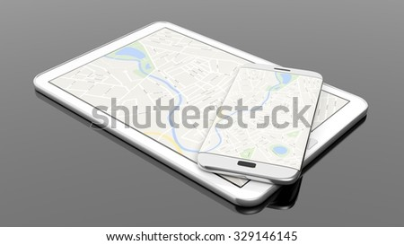 Tablet and smartphone with map on screen, isolated on black background.