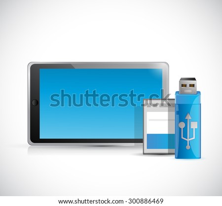 tablet and storage objects illustration design graphic - stock photo