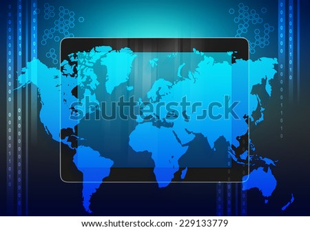 tablet and world map on an abstract background - stock photo