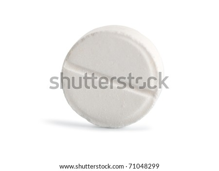 Tablet aspirin isolated on a white background (Path) - stock photo