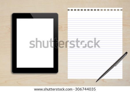 Tablet , Blank Page,Pen on wood table background texture with copy space and text space - stock photo