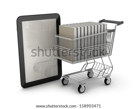 Tablet computer and book in shopping cart - stock photo