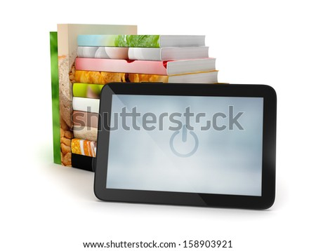 Tablet computer and stack of books on white background - stock photo