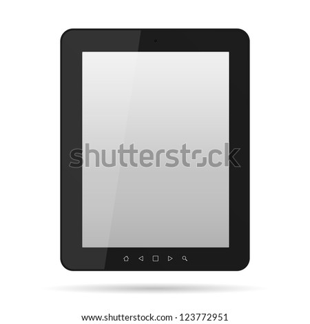 Tablet computer. Black frame tablet PC isolated on white - stock photo
