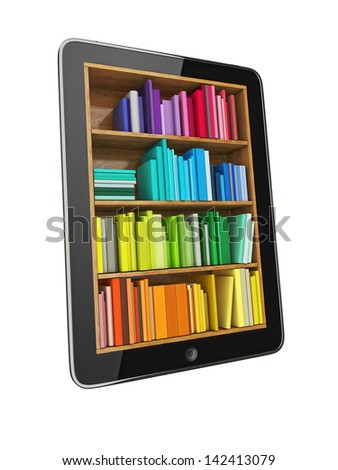 Tablet Computer Bookcase with Multicolor e-books isolated on White Background