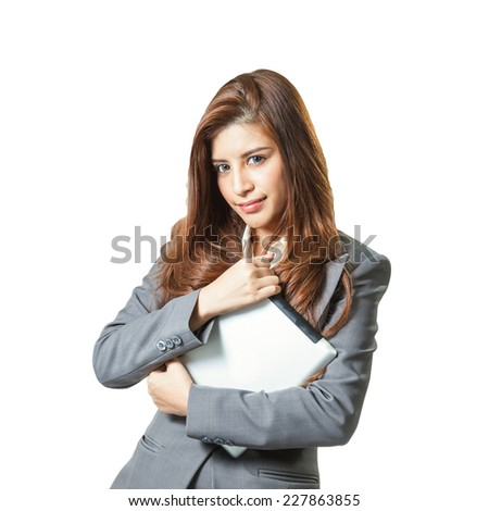 Tablet computer. Business woman using digital tablet computer PC happy isolated on white background. Beautiful mixed race Asian with finger on touch screen display. - stock photo