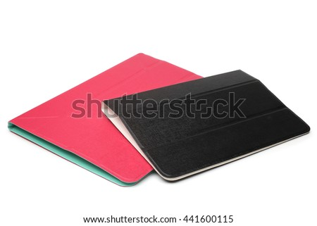 Tablet computer cases on white background