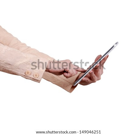 tablet computer in a business hands  - stock photo