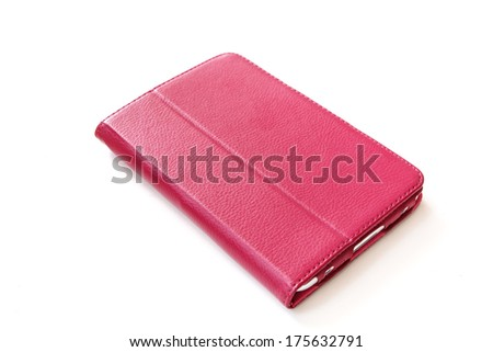 Tablet computer in pink case isolated on white background-2 - stock photo