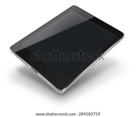 Tablet computer ipad style mockup with black screen isolated on white background. Highly detailed illustration. - stock photo
