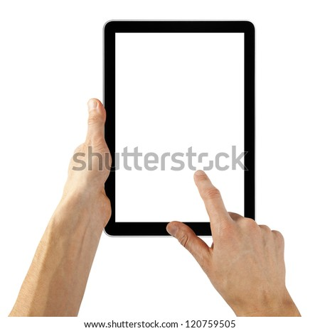 tablet computer isolated in a hand like ipades on the white backgrounds.   - stock photo