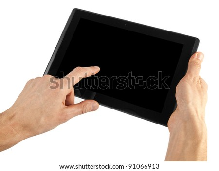 tablet computer isolated in a hand on the white backgrounds - stock photo