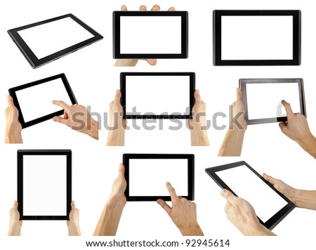 tablet computer isolated in a hand on the white backgrounds. collections - stock photo