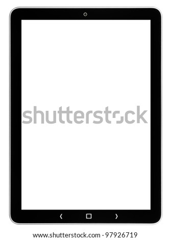 tablet computer isolated on the white backgrounds.