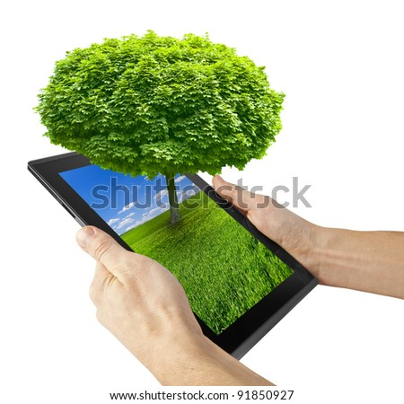 tablet computer isolated on the white backgrounds. tree - stock photo
