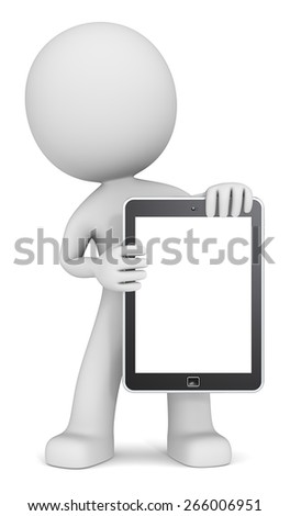 Tablet Computer Pad. The dude 3D character holding Tablet Pad. Copy Space. - stock photo