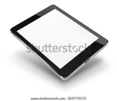 Tablet computer pc in ipade style mockup with blank screen isolated on white background. Highly detailed illustration. - stock photo