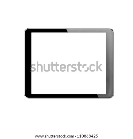 tablet computer pc on white background + Clipping Path - stock photo