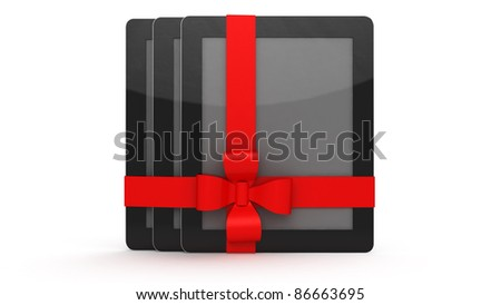 tablet computer presents on white background
