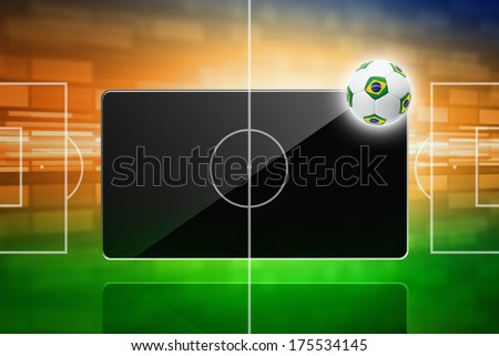 Tablet computer, soccer ball with brazil flag, sports game online concept