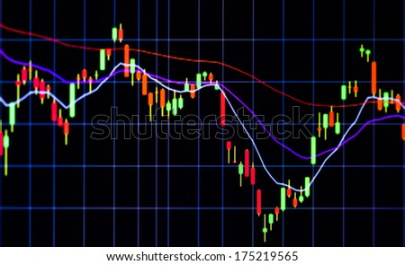 Tablet computer stock chart live investor analysis - stock photo