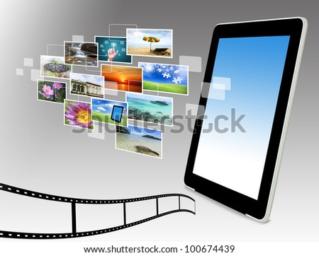 tablet computer streaming images - stock photo
