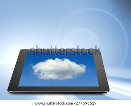 Tablet computer (tablet pc) . Modern portable touch pad device and cloud - stock photo