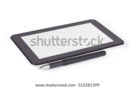 Tablet computer with blank screen and pen isolated on a white background - stock photo