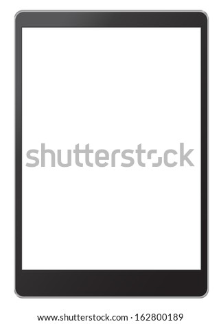 Tablet computer with blank screen isolated on white