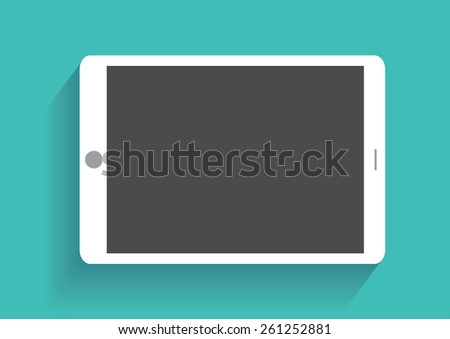 Tablet computer with blank screen. Using digital tablet pc similar to ipad, flat design concept - stock photo