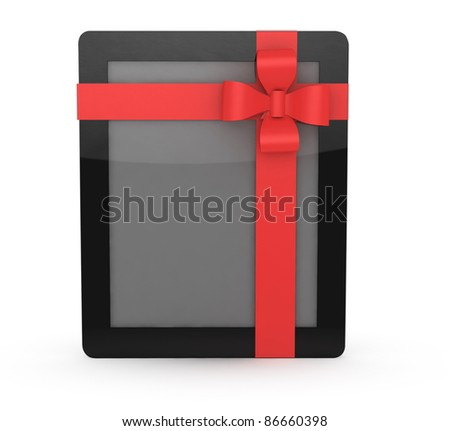 tablet computer with bow on white background - stock photo