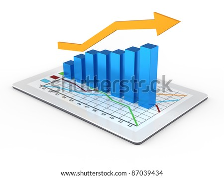 Tablet computer with business growth graph