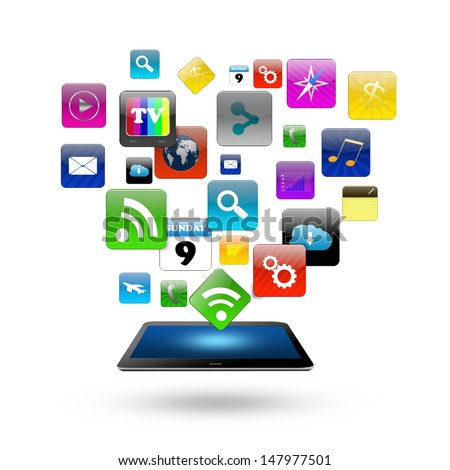 Tablet computer With Colorful application icon concept,isolated on white background