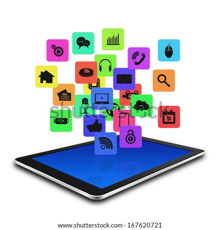 Tablet computer With Colorful application icon ,tablet  illustration