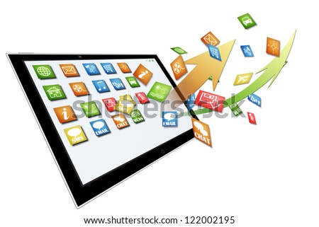 Tablet computer with dynamic apps illustration isolated on white - stock photo
