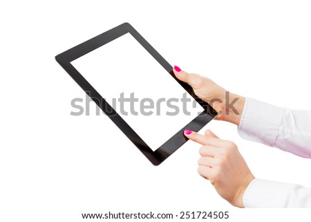 Tablet computer with empty screen isolated on white background - stock photo