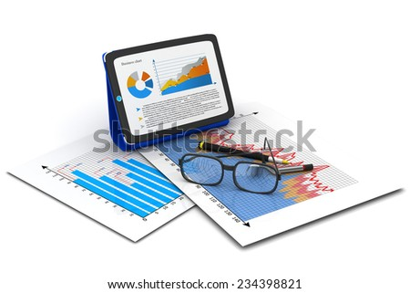 Tablet computer with Financial paper charts and graphs	 - stock photo