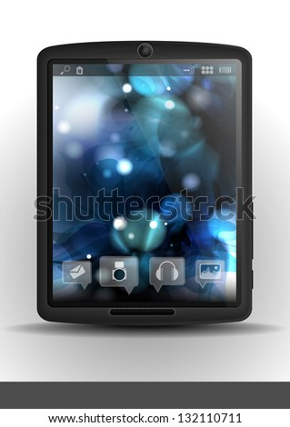 Tablet Computer with flower background