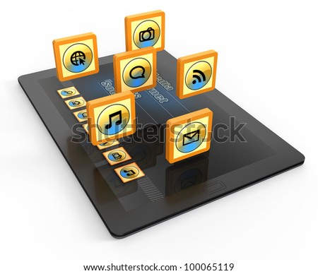 Tablet computer with of application icons - stock photo