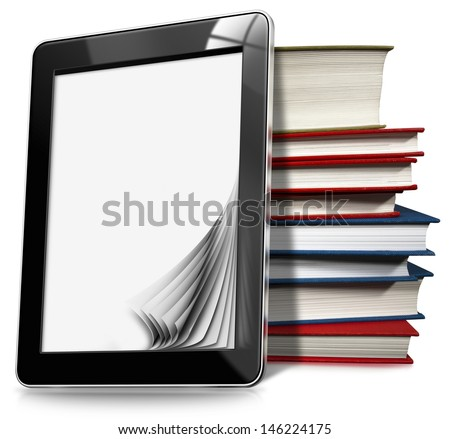 Tablet Computer with Pages and Books /  Black tablet computer with blank pages and stack of books on white background - stock photo