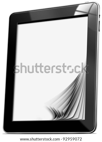 Tablet computer with pages / Black tablet computer with blank pages on white background