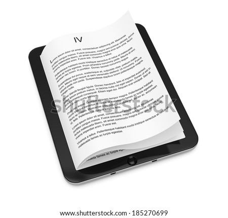 Tablet computer with pages isolated on white background. 3d rendering illustration - stock photo