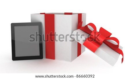 tablet computer with present on white back  ground - stock photo