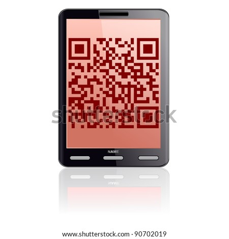 Tablet computer  with QR code.