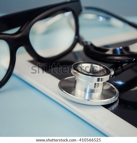 Tablet Computer With Stethoscope.