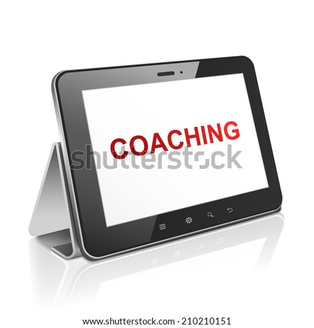 tablet computer with text coaching on display over white