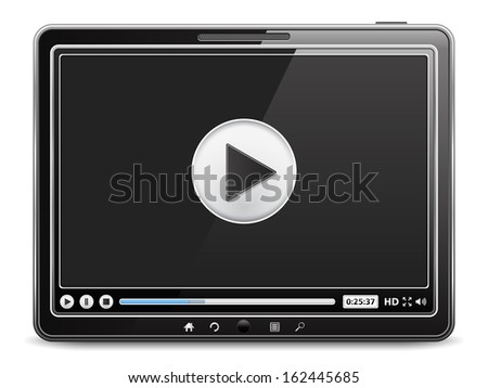 Tablet computer with video player on the screen