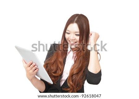Tablet computer woman looking excited at pc screen . Fresh energy photo of beautiful asian young woman - stock photo