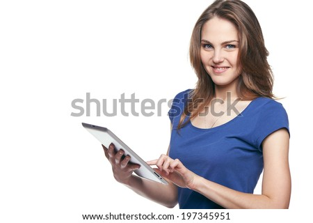 Tablet computer. Woman using digital tablet isolated on white background. - stock photo