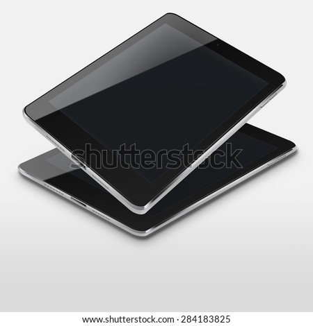 Tablet computers ipad style mockup with black screens on gray background. Highly detailed illustration. - stock photo